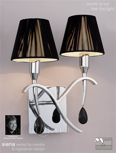 Wall Lights Without Shades : MANTRA Lighting M0348/S Siena Chrome Twin Wall Light With Shades